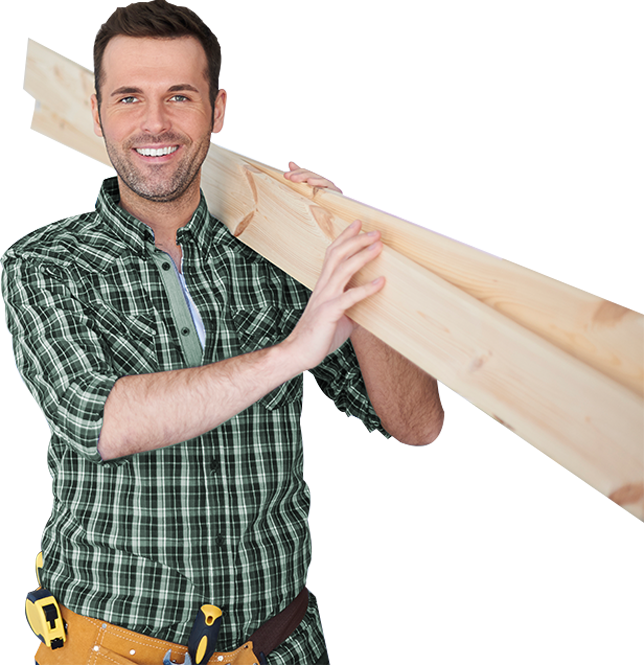 Worker Holding Plywood